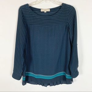 LOFT Long Sleeve Polkadot Pleated Back Top XSP